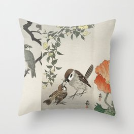 Assorted birds and flowers illustration Throw Pillow