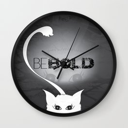 Bold White Cat Wall Clock