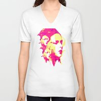 faces V-neck T-shirts featuring Faces by Paola Rassu