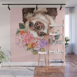Baby Sloth with Flowers Crown in Pink Wall Mural