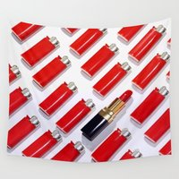 lipstick Wall Tapestries featuring LIGHTERS & LIPSTICK by I Love Decor