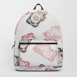 Cute Watercolor Pink Black Gold Retro Cameras Backpack