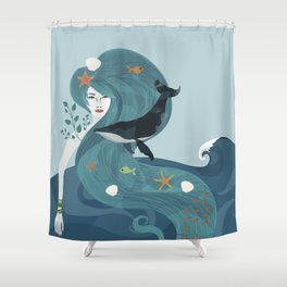 Aquatic Life of a Seaflower Shower Curtain