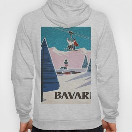 Bavaria, Germany Vintage Ski Travel Poster Hoody