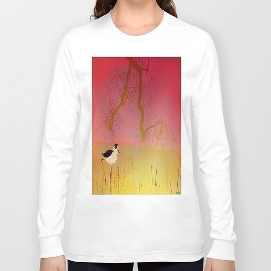 Setting sun on the rice field Long Sleeve T-shirt