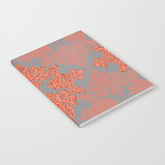 Burnt Orange, Coral & Grey doodle pattern Notebook