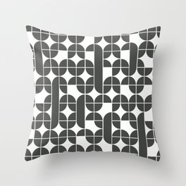 Black And White Mid Century Modern Geometric Pattern Throw Pillow