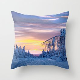 Winter road in the snowy forest Throw Pillow