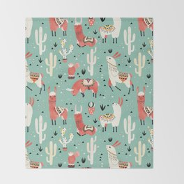 Llamas and cactus in a pot on green Throw Blanket