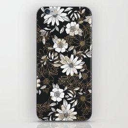 Modern black white faux gold elegant floral iPhone Skin