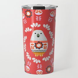Floral circle with a little bear Travel Mug