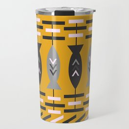 Aztec pattern with fish- ochre Travel Mug