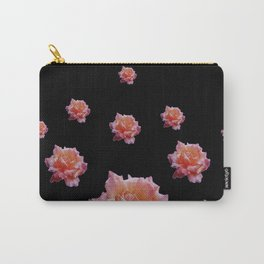 ROMANTIC ANTIQUE PINK ROSES ON BLACK Carry-All Pouch