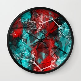 Abstract geometric pattern with Leaves contours. red maroo Wall Clock
