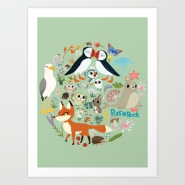 Puffin Friends - Green Art Print