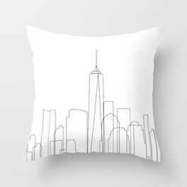 New York City Skyline Outline Throw Pillow