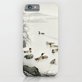 Ducks Swimming In The Lake - Japanese Vintage Woodblock Print iPhone Case