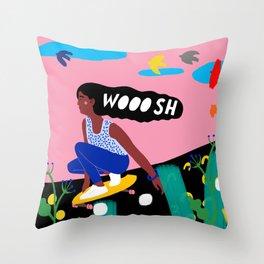SKATER GIRL WOOOSH Throw Pillow