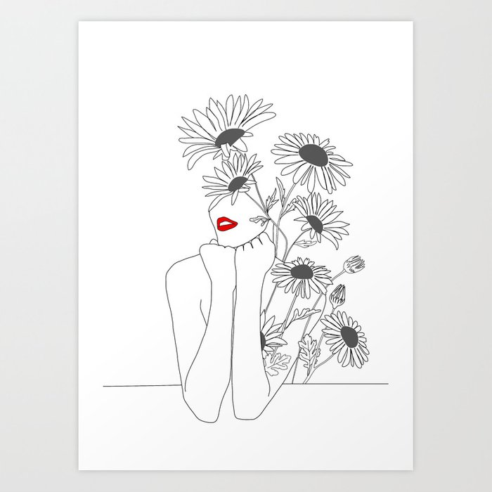 Minimal Line Art Girl with Sunflowers Kunstdrucke