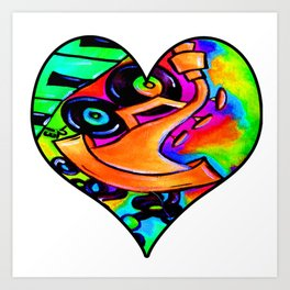 Abstract bold and colorful musical instrument heart Art Print