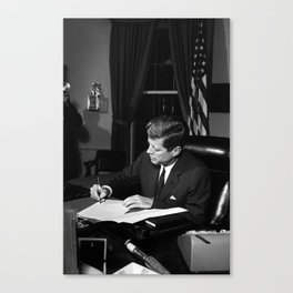 JFK Signing The Cuba Quarantine Canvas Print