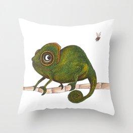 Chameleon vs fly Throw Pillow