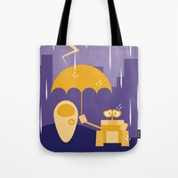 wall e Tote Bags featuring Wall-E by Gardner Art and Design