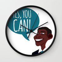 obama Wall Clocks featuring OBAMA by artic