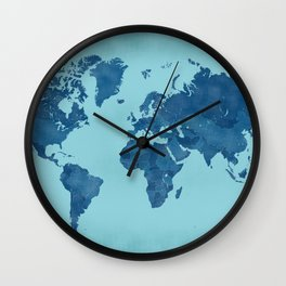 Vintage and distressed teal world map Wall Clock