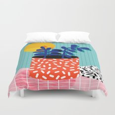 No Way - wacka potted house plant indoor cute hipster neon 1980s style retro throwback minimal pop  Duvet Cover