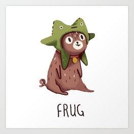 Pug in a frog costume.. Frug. Art Print