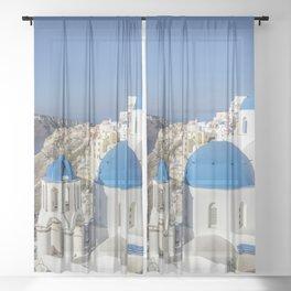 Santorini, Oia Village, Greece Sheer Curtain
