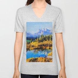 Mountain Watercolor Unisex V-Neck
