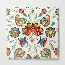 Floral Batik Hippie Boho Print Western Americana Metal Print