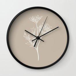 6-2016-2, Light & Dark Beige, Floral Botanical Flower art, Plant Leaves, Boho decor, Wall Clock