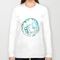 zodiac Long Sleeve T-shirts featuring Tiger zodiac by Julia Lake Art Designs