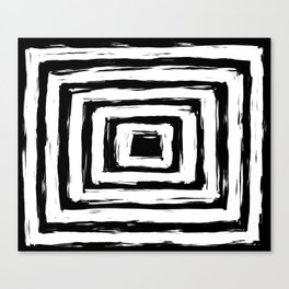 Minimal Black and White Square Rectangle Pattern Canvas Print