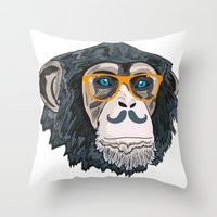 monkey Throw Pillows featuring Monkey! by  Steve Wade ( Swade)