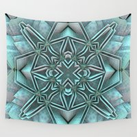 snowflake Wall Tapestries featuring Snowflake by Lyle Hatch