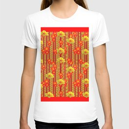 Red Oriental Style Poppies & Daffodils Pattern T-shirt
