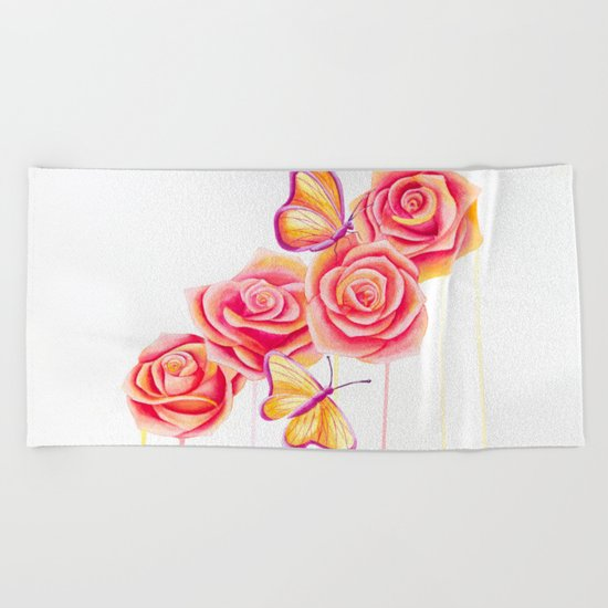Butterflies and Roses Beach Towel