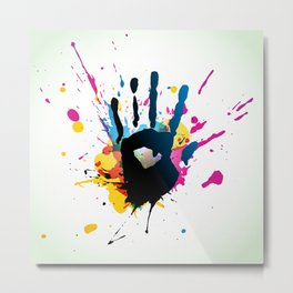 Grunge hand on paint splashes Metal Print