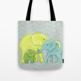 Elephant Family of Three in Yellow, Blue and Green Tote Bag