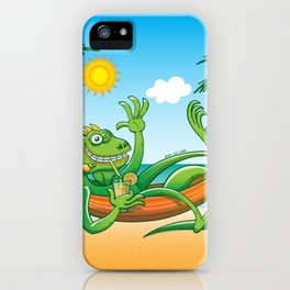 Lazy Iguana Summer on the Beach iPhone Case