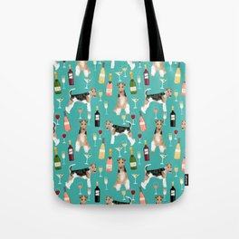 Wire Fox Terrier wine dog pattern dog lover gifts for dog person dog breeds pet friendly Tote Bag