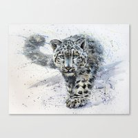 snow leopard Canvas Prints featuring snow leopard by KOSTART