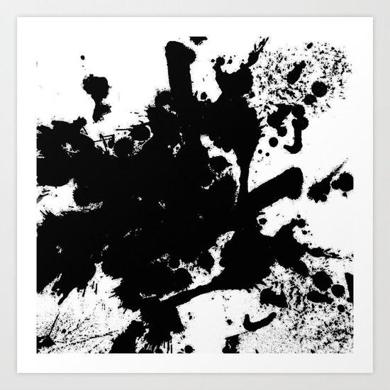 Black and white splat - Abstract, black paint splatter painting Art Print