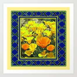 BLUE-YELLOW FRAMED CALIFORNIA POPPIES ART Art Print