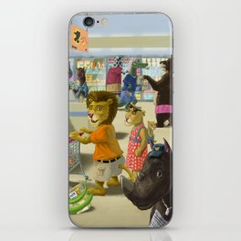 animals doing their shopping at a supermarket iPhone Skin