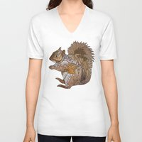 woodland V-neck T-shirts featuring Woodland Squirrel by ArtLovePassion